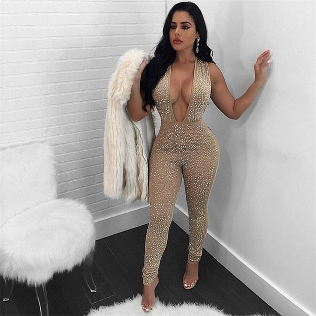 Tight Bodysuit Sexy Overalls Night Club Party Bodycon Jumpsuit