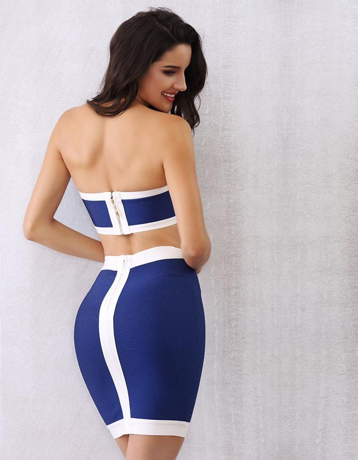Chic Autumn Royal Blue Bandage Hollow Out Dress LAVELIQ - Laveliqus