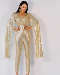 Deep V Neck Angel Wings Gold Sequin Jumpsuit - Laveliqus