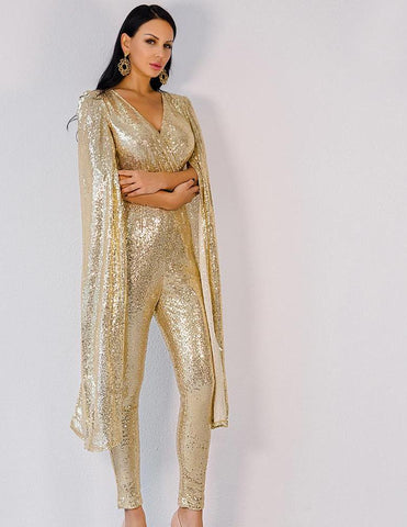 Deep V Neck Angel Wings Gold Sequin Jumpsuit