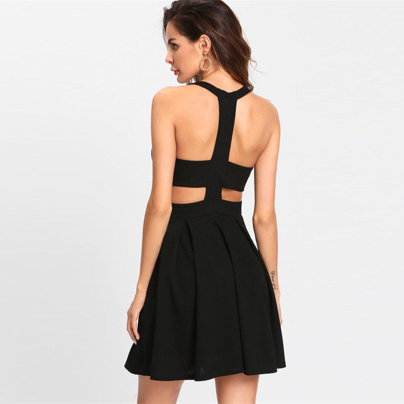 Cut Out Y-Back Box Pleated Fit And Flare Dress LAVELIQ