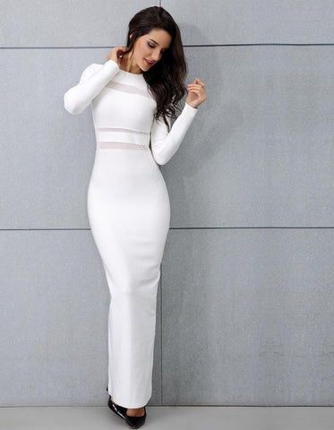 White Long Sleeve Maxi Dress LAVELIQ