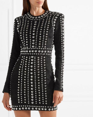 Black Women Beads Embellished Mini Bandage Dress LAVELIQ - Laveliqus