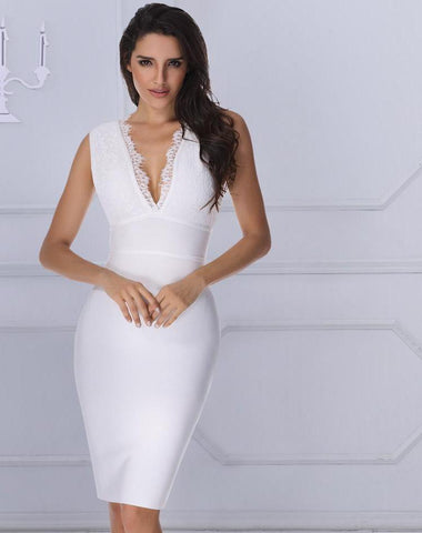 New Winter Luxury Women Runway White Lace Bandage Dress LAVELIQ