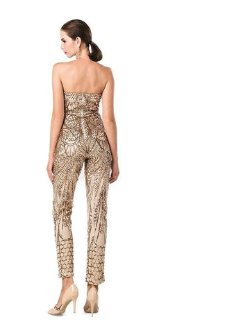 Gold Sequin Off Shoulder Jumpsuit Romper