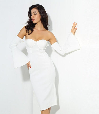White Tube Top Speaker Sleeve Thick Fabric Bodycon Party Midi Dress LAVELIQ