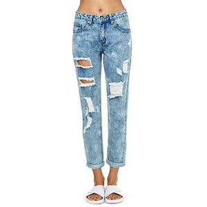 Blue Cut Out Ripped Vintage Skinny Jeans LAVELIQ - Laveliqus