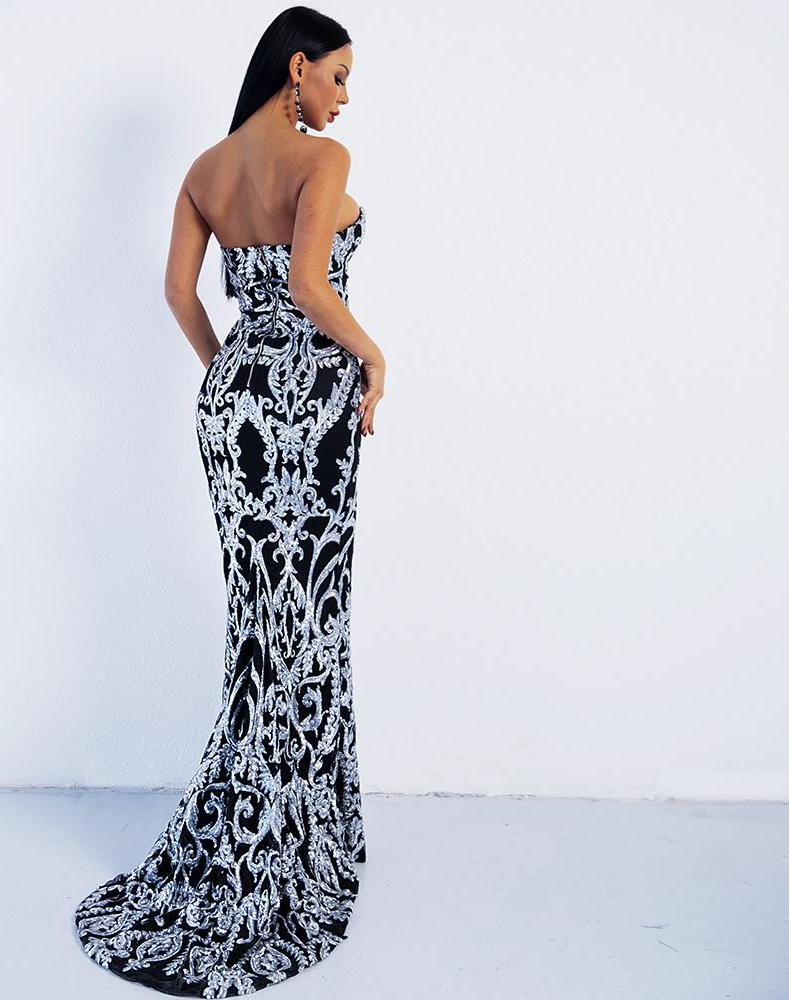 Off Shoulder Sweetheart Neckline Fish Tail Maxi Dress Long Gown Sequin - Laveliqus