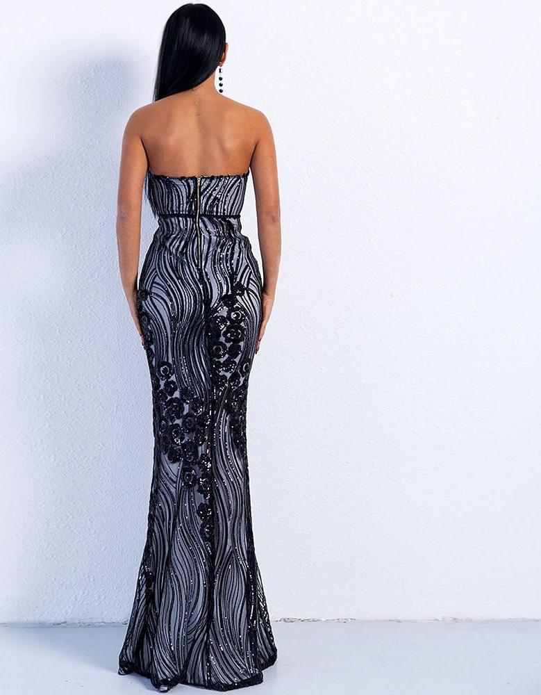 Off Shoulder Sequin Maxi Dress Gown - Laveliqus