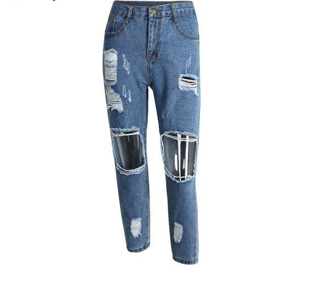 Casual Hollow Out Blue Denim Pants Ripped Jeans LAVELIQ - Laveliqus