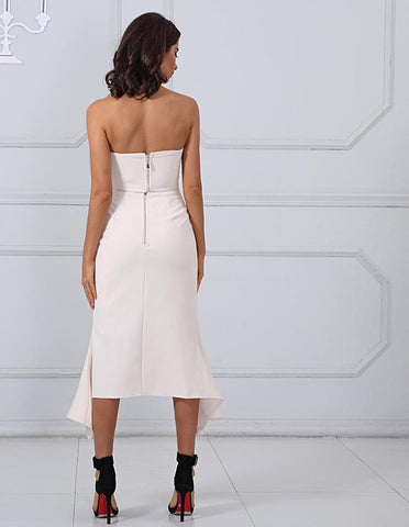 Strapless Cropped Tops&Split Skirt 2 Two Pieces Set LAVELIQ