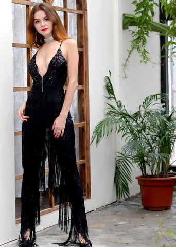 Deep V Neck Sleeveless Sequin And Tassel Fringe Jumpsuit With Lining