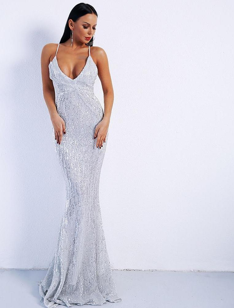 Deep V Neck Backless Sequin Maxi Dress Gown - Laveliqus