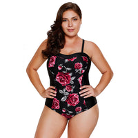 Plus Size Padded Floral Print Swimwear - Laveliqus