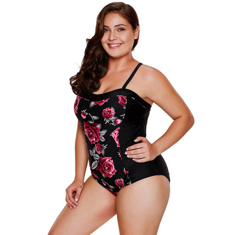 Plus Size Padded Floral Print Swimwear