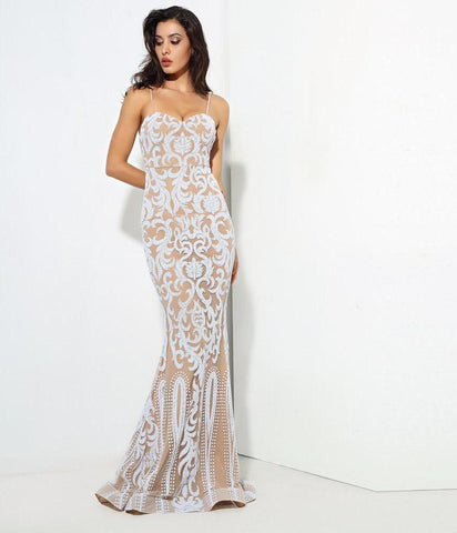 Sexy White Nude Color Lace Maxi Dress Laveliq