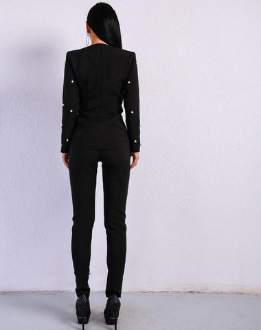 Sexy  Long Sleeve Button Two Pcs  Jumpsuit
