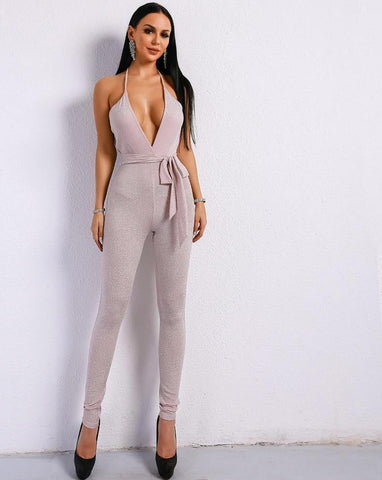 V Neck Backless Romper Jumpsuit