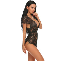 Baby Doll Teddy Lace V Neck Lingerie Bodysuit