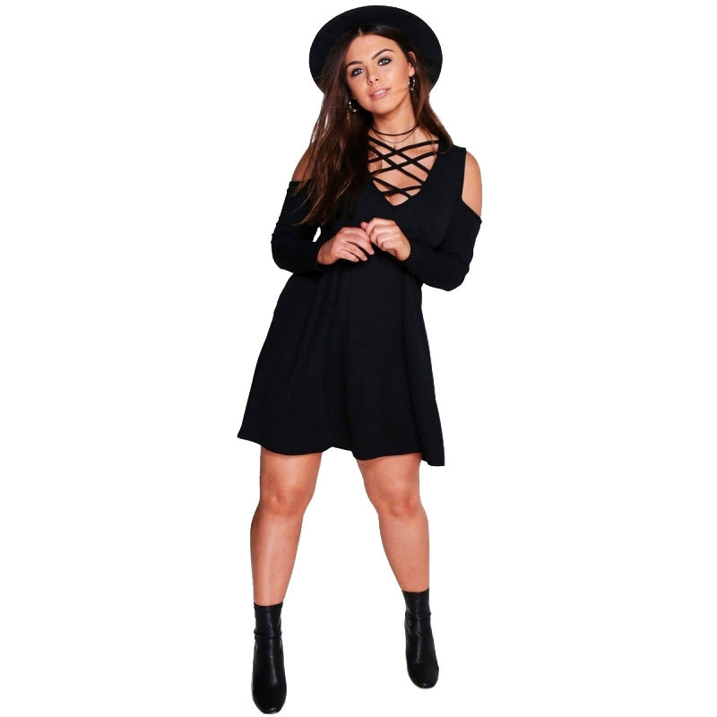 Plus size Black Cold shoulder Mini Skater Dress LAVELIQ - Laveliqus