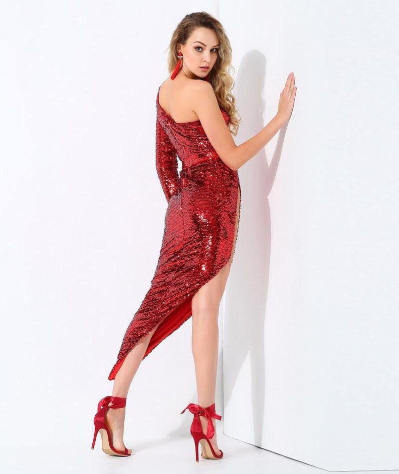 Sexy Red Shoulder Mesh Splicing Bodycon Party Dress LAVELIQ - Laveliqus