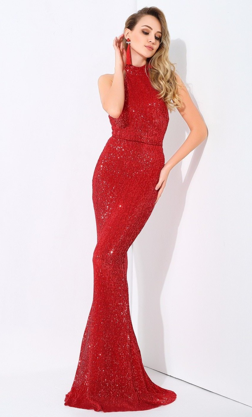 Halter Neck Sleeveless Maxi Dress Sequins Gown