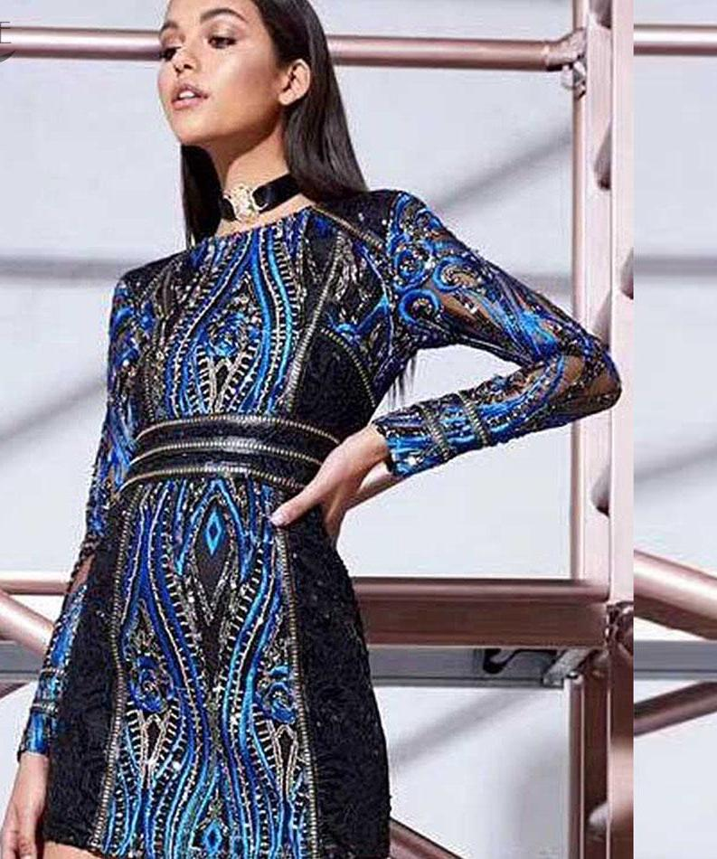 Blue&Black Long Sleeve Beading Sequins Embellished Dress LAVELIQ - Laveliqus