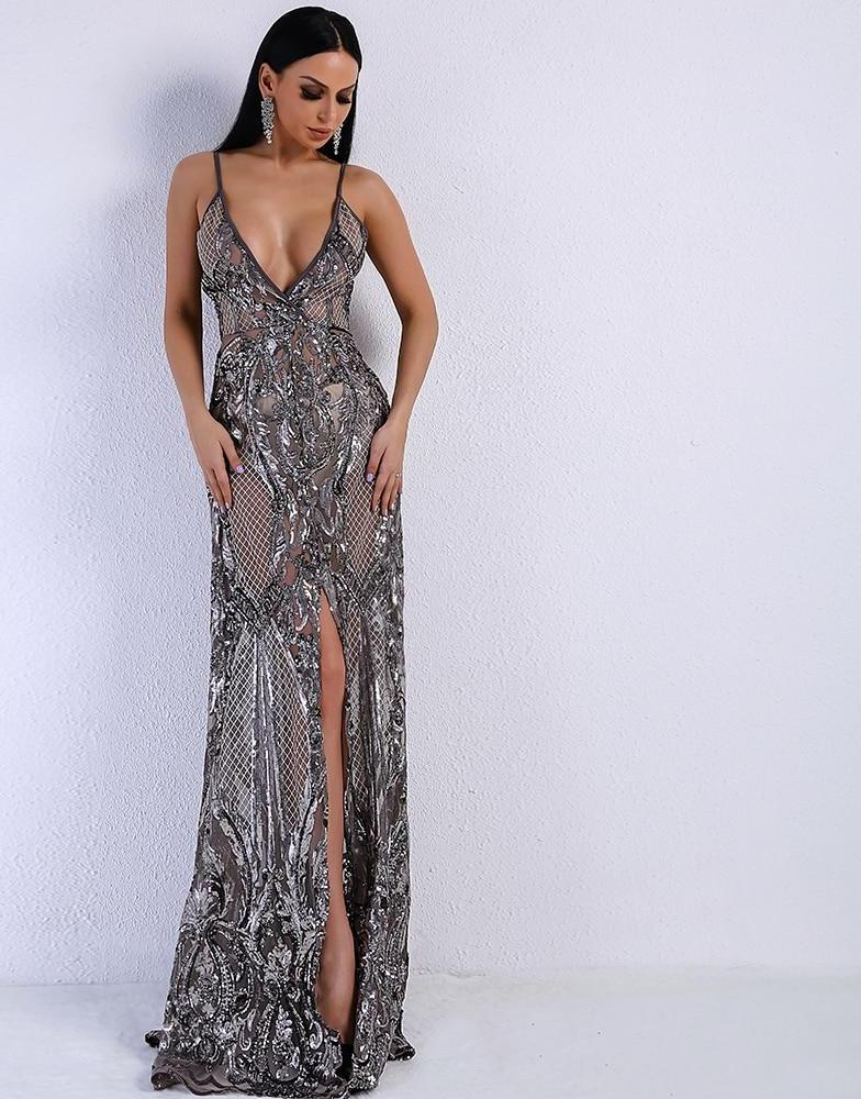Silver V Neck Sequin Split Maxi Dress Gown - Laveliqus