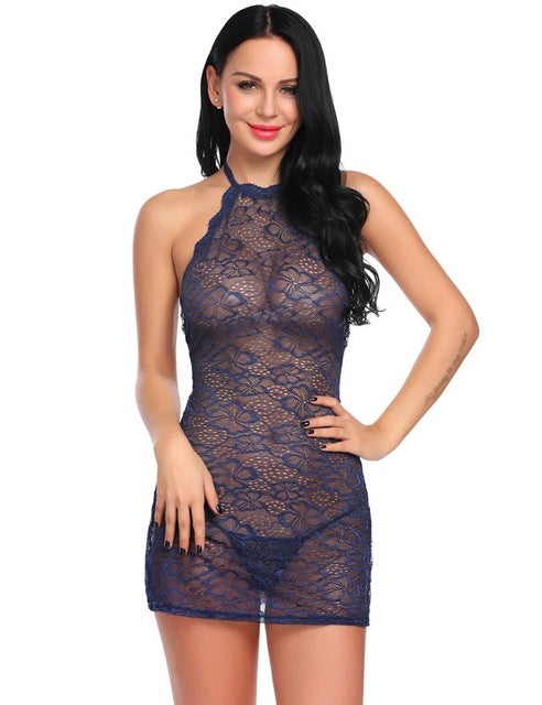 Halter Floral Sheer Lace Teddy Mesh Nightwear Lingerie - Laveliqus