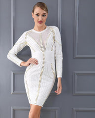 Beaded long sleeve mini bandage dress LAVELIQ - Laveliqus