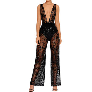 Women Deep V Neck Sequin Jumpsuit  LAVELIQ - Laveliqus