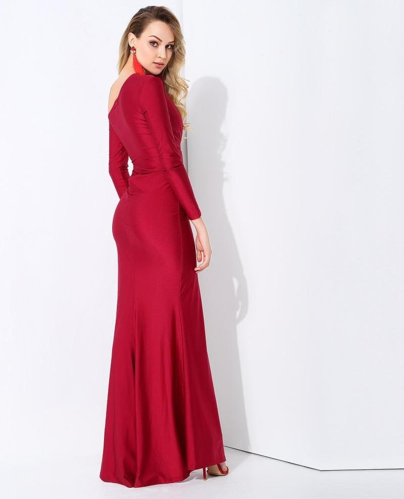 Sexy Wine Red Cou Out Shoulder Bodycon Long Sleeve Maxi Dress LAVELIQ - Laveliqus