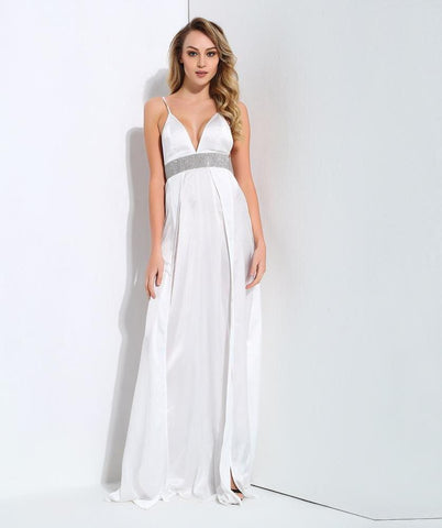 Sexy White  V-Neck Opens The Back With Rhinestone-Trimmed Maxi Dresses  Laveliq