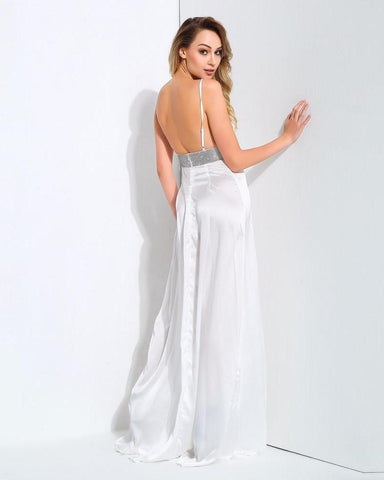 White  V-Neck Opens The Back With Rhinestone-Trimmed Maxi Dresses  LAVELIQ