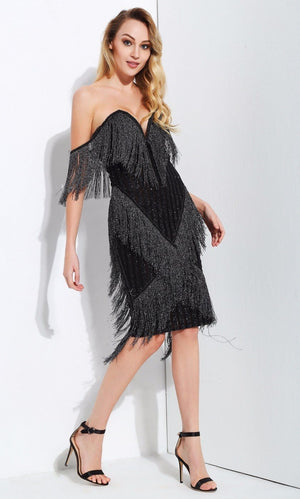 \ Black Deep V Collar Tassel Stitching Striped  Dress - Laveliqus
