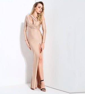 Sexy Nude Cou Out Shoulder Bodycon Long Sleeve Maxi Dress LAVELIQ - Laveliqus