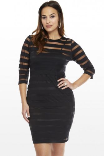 Plus Size Women Sexy Clubwear Bodycon Party Evening Knee-Length Dress Long Sleeves Striped Dress