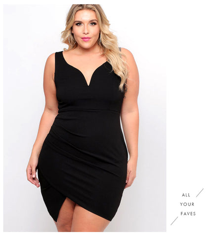 LAVELIQ Plus size v neck black mini dress