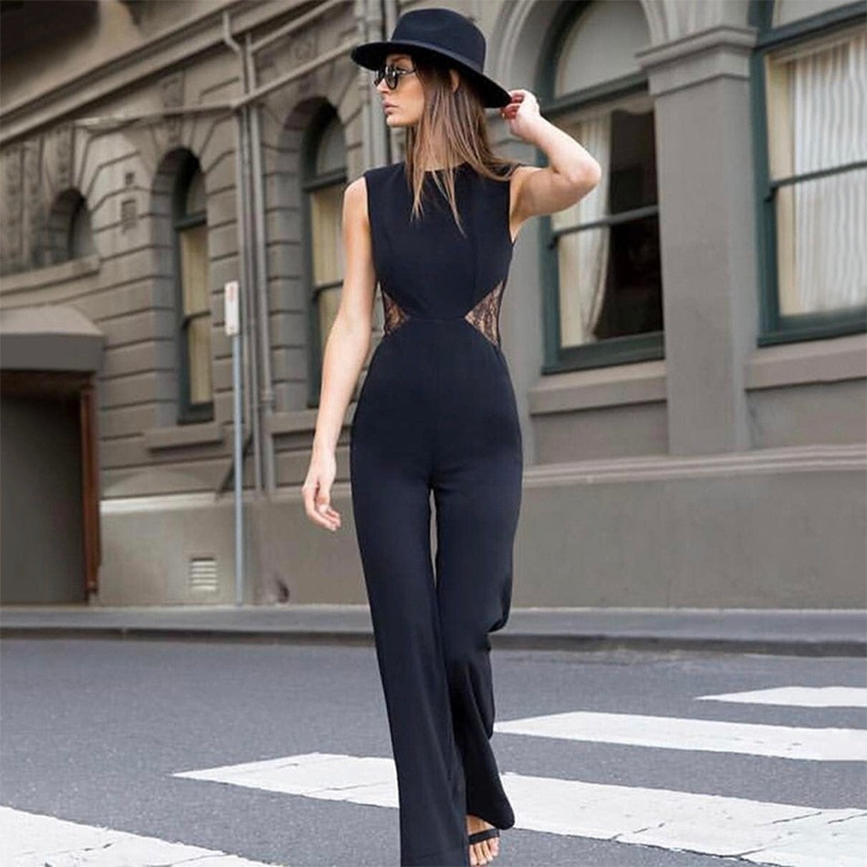 Newest Summer Jumpsuit Women Celebrity Party Sleeveless O-Neck Runway Sexy Night Out Boot Cut Bodysuit Women Wholesale