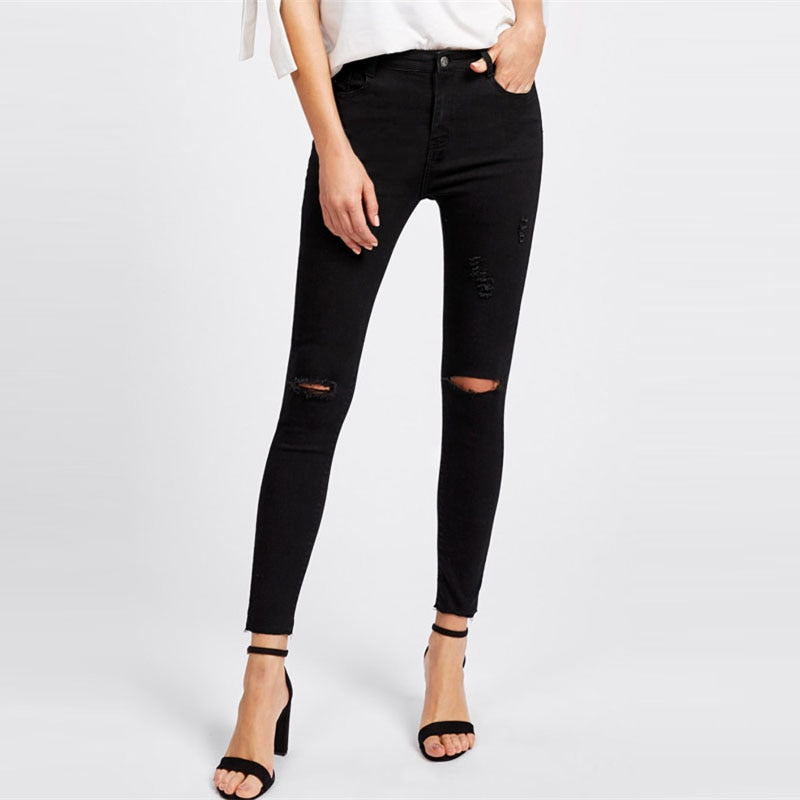Knee Ripped Skinny Ankle Jeans Denim Pants - Laveliqus