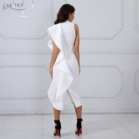White Sleeveless Patchwork Ruffles Bodycon Midi Dress LAVELIQ - Laveliqus