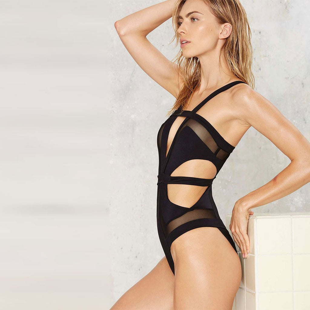 Black Swimsuit One Piece  Cut Out  Mesh