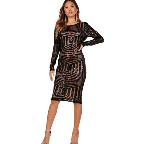 Rose gold sequin long sleeve midi dress LAVELIQ