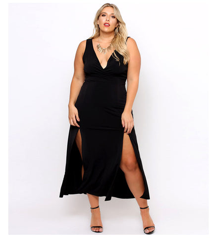 LAVELIQ plus size deep v neck evening party maxi dress