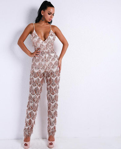 Harness Sequin Backless Tassel Fringe Jumpsuit