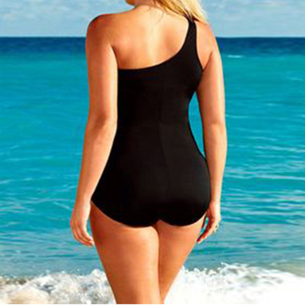 Plus Size One Shoulder Mesh Swimwear Laveliq - Laveliqus