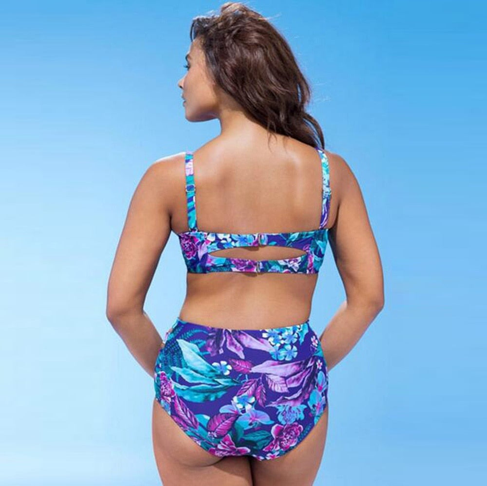 Floral Push Up Bikini Plus Size High Waisted Swimsuit