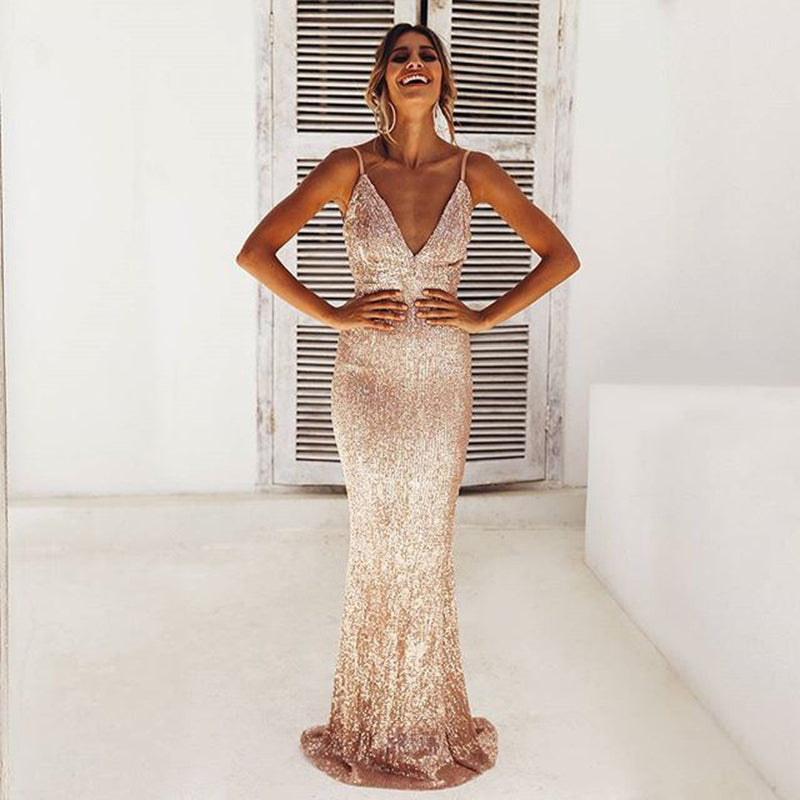 Deep V Neck Strap Sequin Maxi Dress LAVELIQ - Laveliqus