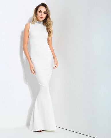 Sexy White Collar Color Beaded Decoration Slim Tail Shape Maxi Dress LAVELIQ - Laveliqus