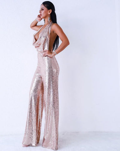 Deep V Neck Backless Sequin Jumpsuit